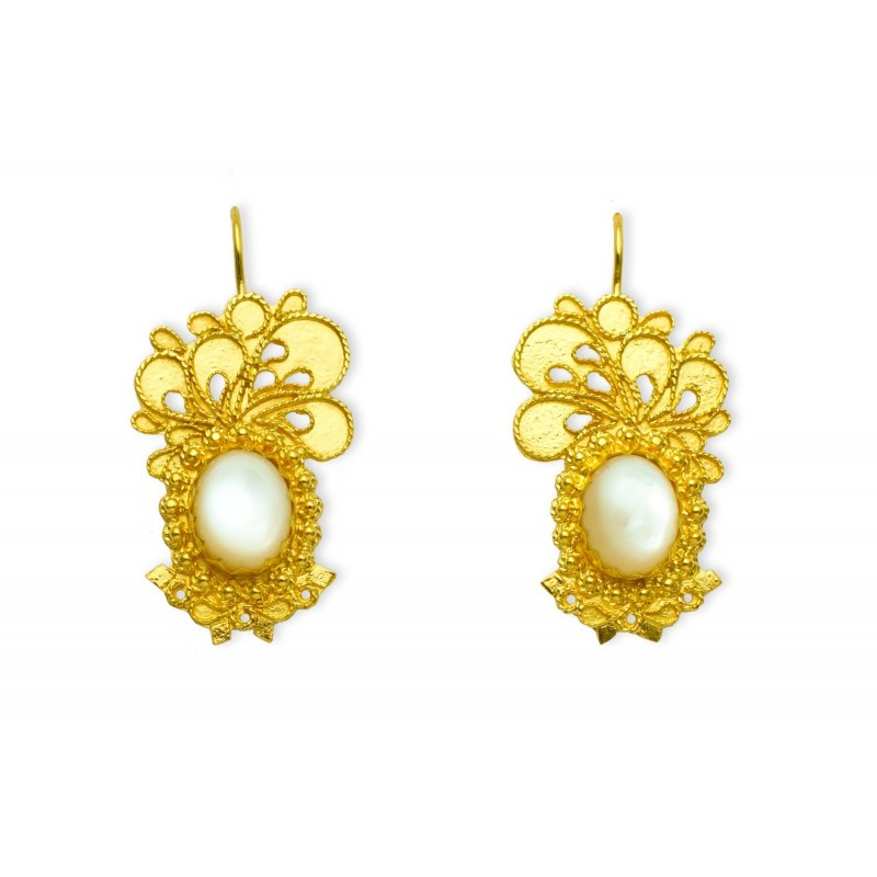"18K Gold filigree earrings ""VIA LATTEA"""