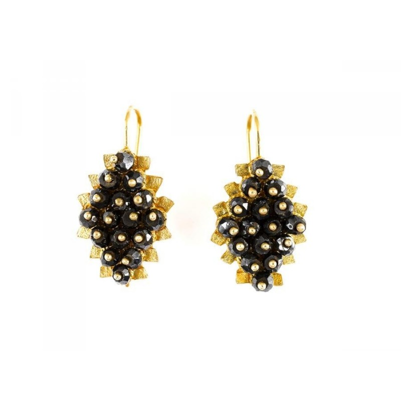 "18K gold earrings ""MORA NERA"""