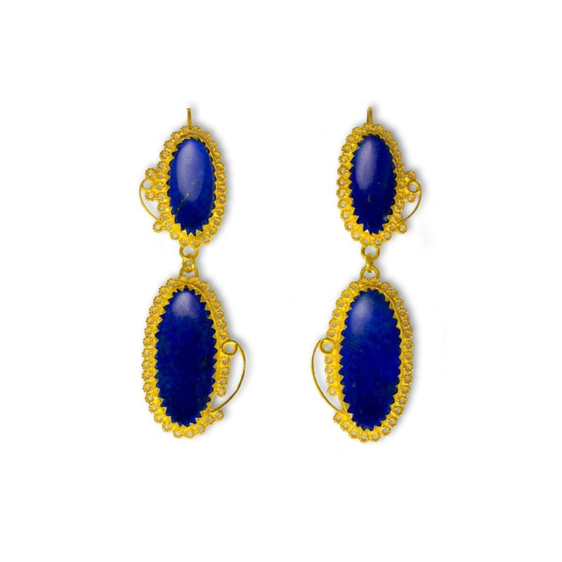 "18K Gold filigree earrings ""SCIA BLU"""