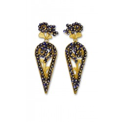"Gold filigree earrings ""COROLLE BLU"""