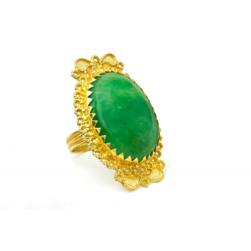 "18K Gold filigree ring ""LUCE VERDE"""