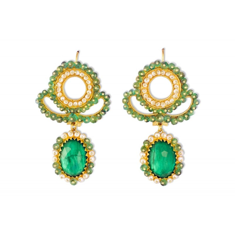 "18K Gold filigree earrings ""AURORA VERDE"""