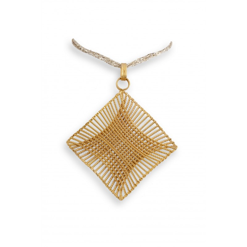 GEOMETRIE DORO 18K gold pendant with filigree elements