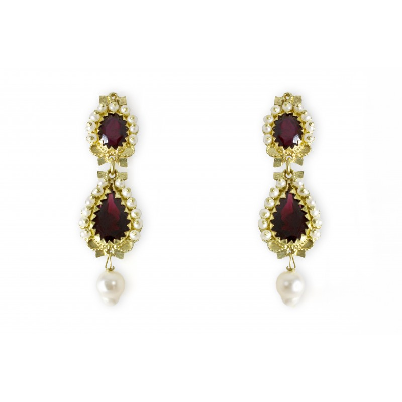 "18K gold earrings ""GOCCE DI GRANATI"""
